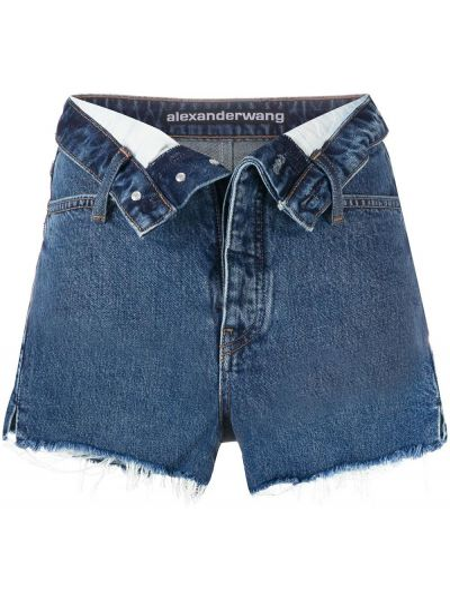 Хлопковые синие классические джинсовые шорты на пуговицах T By Alexander Wang