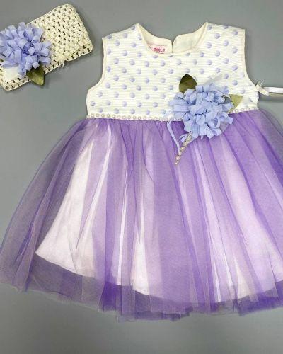 Розовое нарядное платье с поясом Rozetka