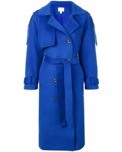 Синее длинное пальто с капюшоном Jovonna