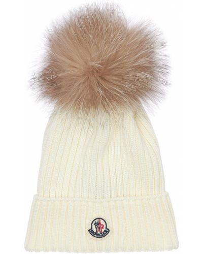 Wełniany biały kapelusz z łatami Moncler