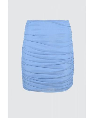 Niebieska spódnica tiulowa z paskiem Trendyol