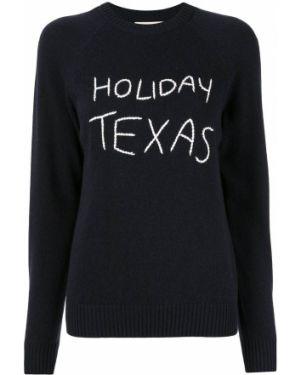 Темно-синий вязаный свитер в рубчик с вышивкой Holiday