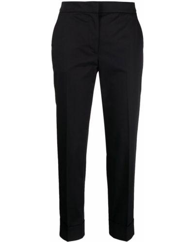 Хлопковые черные укороченные брюки с карманами Pt01