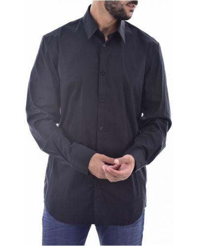 Czarna koszula jeansowa bawełniana z haftem Guess