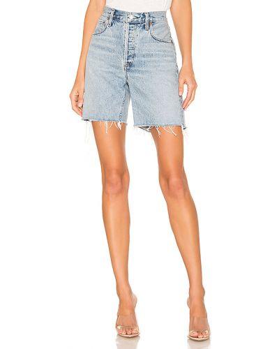 Niebieski bawełna bawełna dżinsowe szorty z kieszeniami Agolde