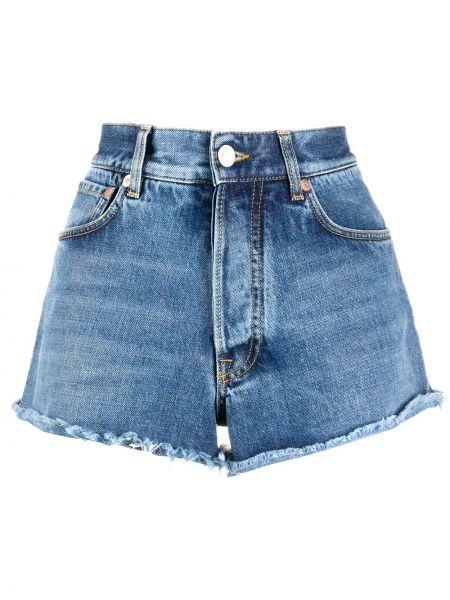 Синие хлопковые джинсовые шорты с бахромой Givenchy