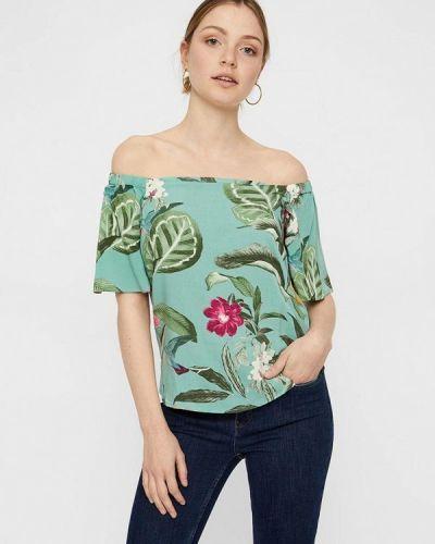 Блузка с открытыми плечами зеленый весенний Vero Moda