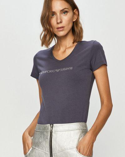 Fioletowy t-shirt bawełniany na co dzień Emporio Armani