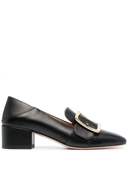 Кожаные черные лоферы на каблуке Bally