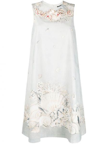 Серое платье с вышивкой без рукавов с вырезом Weekend Max Mara