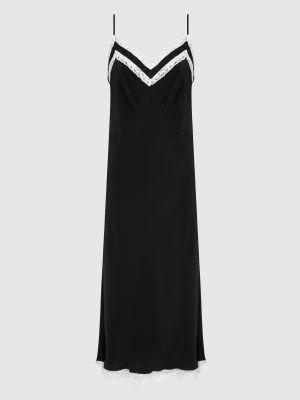 Шелковое черное платье миди Miu Miu