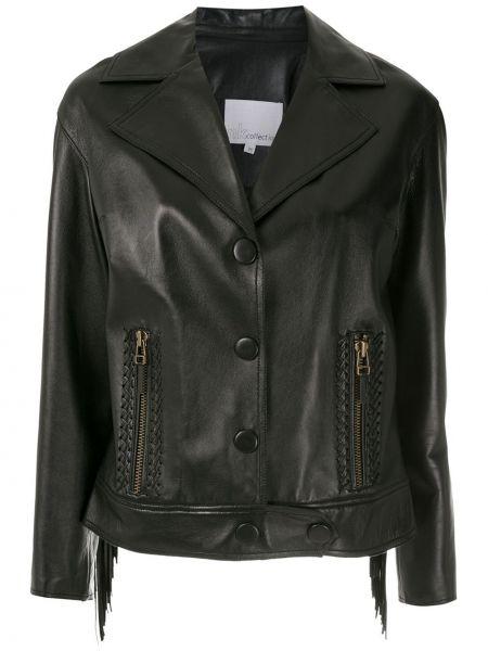 Черная кожаная куртка с бахромой Nk