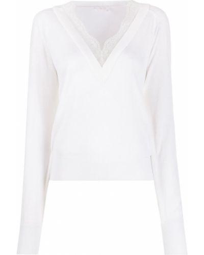 Белый ажурный шелковый джемпер с V-образным вырезом Chloé