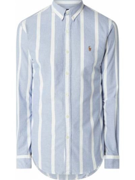 Puchaty niebieski koszula oxford z mankietami z paskami Polo Ralph Lauren