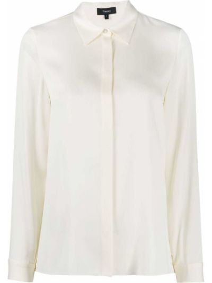 Шелковая с рукавами классическая рубашка с воротником Theory