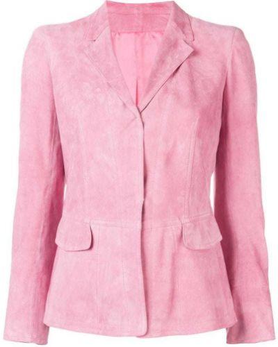 Розовый приталенный удлиненный пиджак на пуговицах Sylvie Schimmel