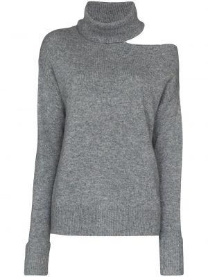 Шерстяной серый свитер в рубчик с открытыми плечами Paige