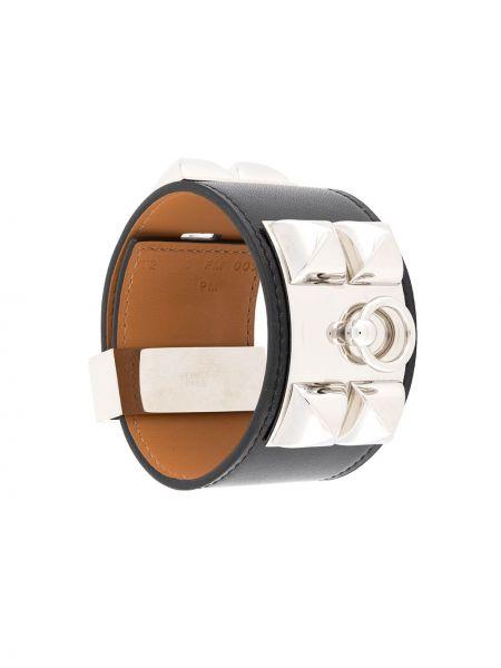 Кожаный черный кожаный браслет винтажный с заклепками Hermès