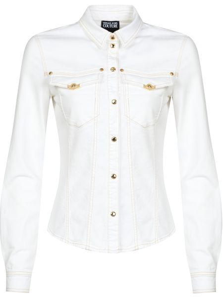 Хлопковая белая рубашка на кнопках Versace Jeans Couture