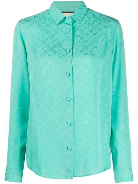 Zielona koszula z długimi rękawami z jedwabiu Gucci