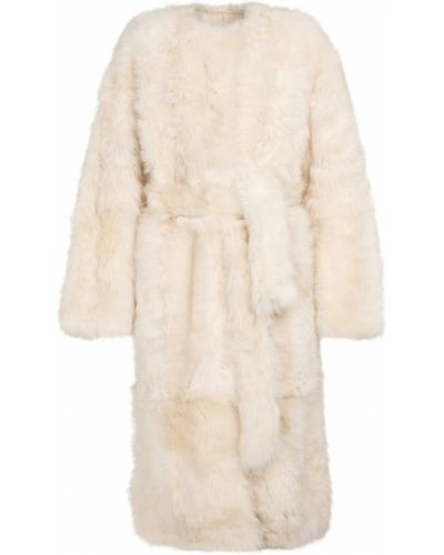 Белое мягкое пальто Yves Salomon