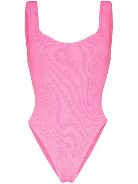 Нейлоновый розовый купальник квадратный Hunza G