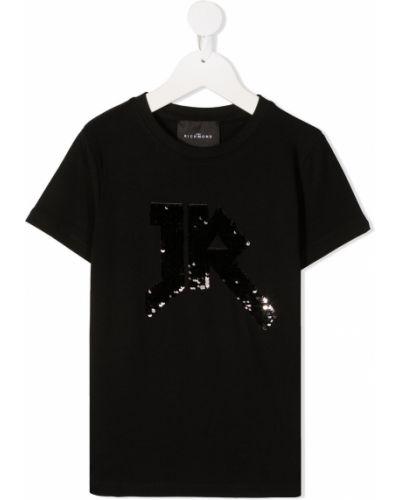 Хлопковая с рукавами черная футболка John Richmond Junior