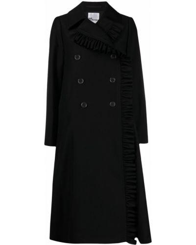 Шерстяное черное пальто классическое двубортное Comme Des Garçons Noir Kei Ninomiya