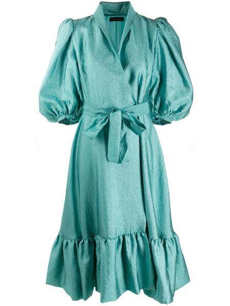 Сатиновое бирюзовое расклешенное платье с короткими рукавами Stine Goya