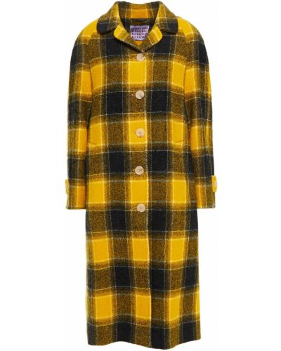 Żółty płaszcz wełniany zapinane na guziki Alexachung