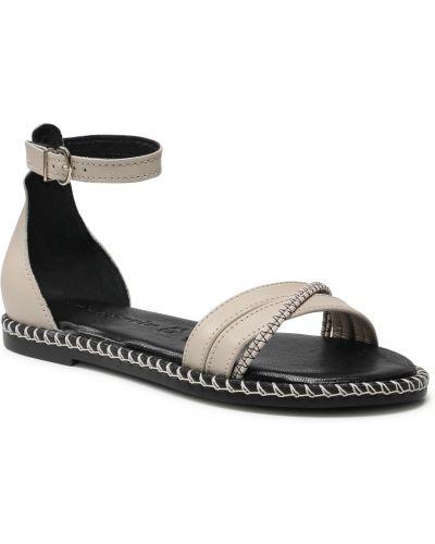 Sandały skórzane - beżowe Tamaris