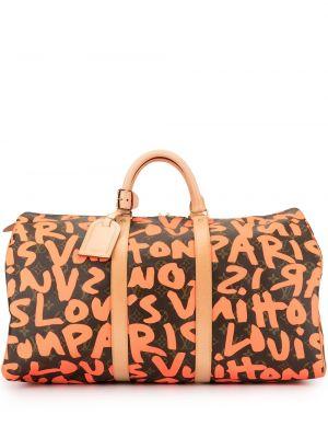 Золотистая красная дорожная сумка круглая на молнии Louis Vuitton
