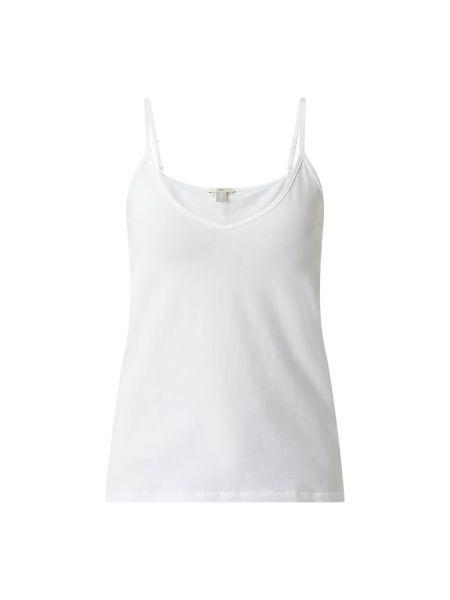 Biały top bawełniany z dekoltem w serek Edc By Esprit