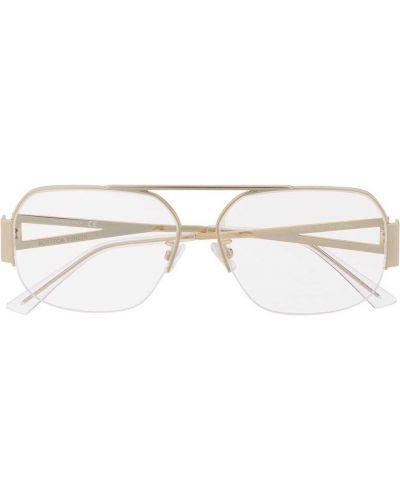 Золотистые желтые очки металлические Bottega Veneta Eyewear