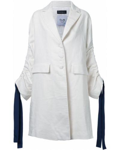 Шерстяное белое пальто с капюшоном Rossella Jardini