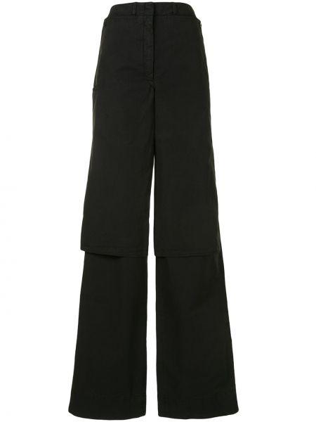 Spodni czarny przycięte spodnie z paskiem bezpłatne cięcie Lemaire