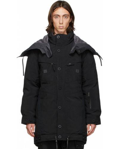 Czarna długa kurtka z kapturem srebrna Blackmerle
