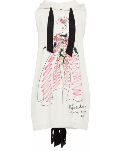 Хлопковое белое платье мини с капюшоном Moschino