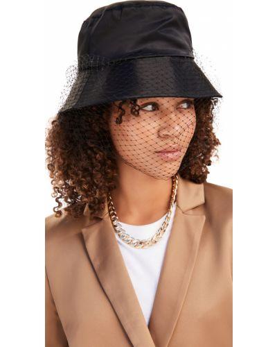 Satynowy czarny kapelusz Jennifer Behr