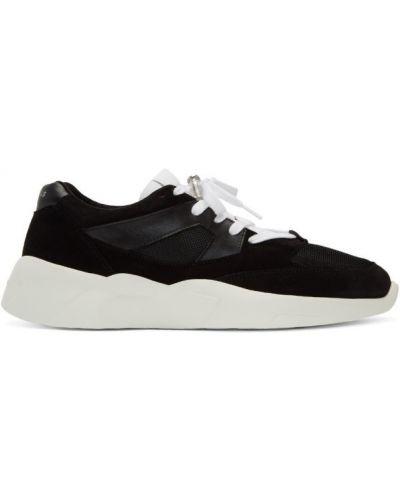Ażurowy czarny wysoki sneakersy z prawdziwej skóry zasznurować Essentials
