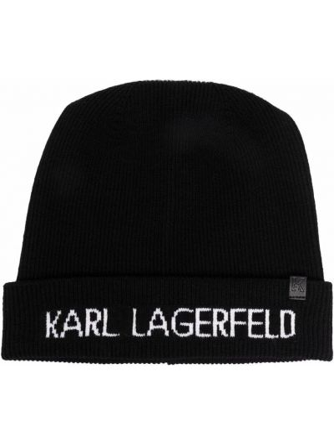 Шапка бини в рубчик - черная Karl Lagerfeld