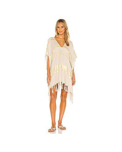 Бежевое шелковое платье с бахромой с завязками L*space