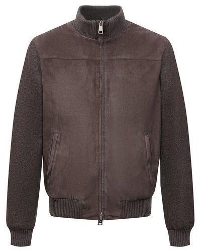 Кожаная куртка из полиэстера - коричневая Andrea Campagna