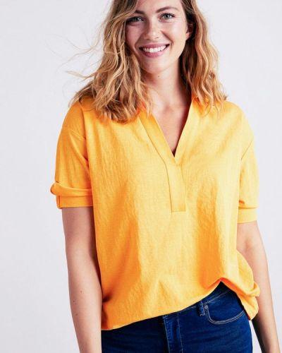 Желтая блузка с коротким рукавом Violeta By Mango