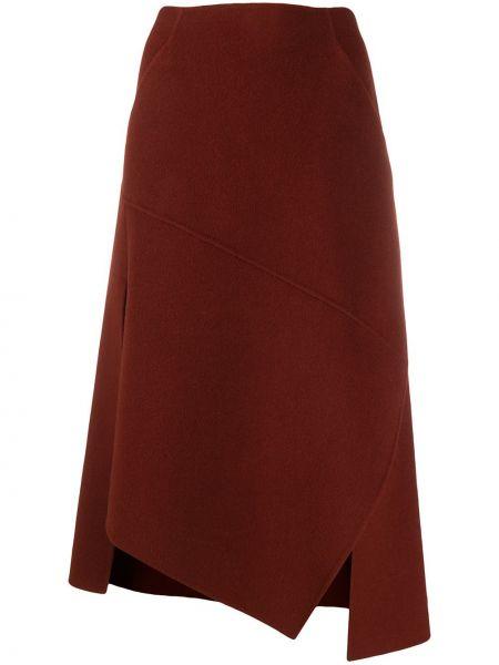 Красная кашемировая асимметричная юбка с карманами Odeeh
