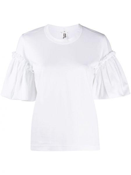 Хлопковая белая прямая рубашка с коротким рукавом с короткими рукавами Comme Des Garçons Noir Kei Ninomiya