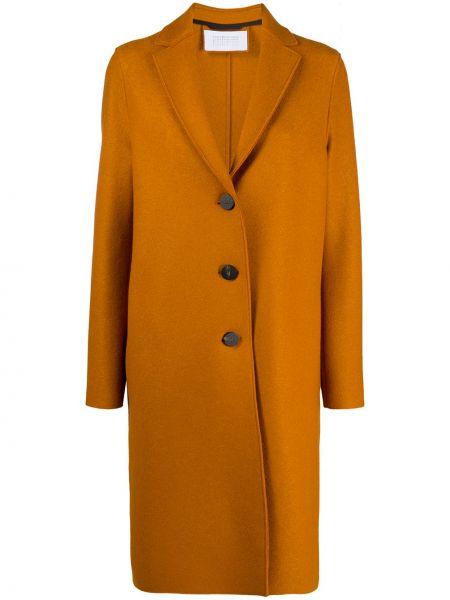 Оранжевое однобортное шерстяное пальто на пуговицах Harris Wharf London