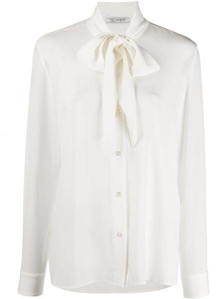 Белая шелковая блузка с длинным рукавом на пуговицах свободного кроя Ports 1961