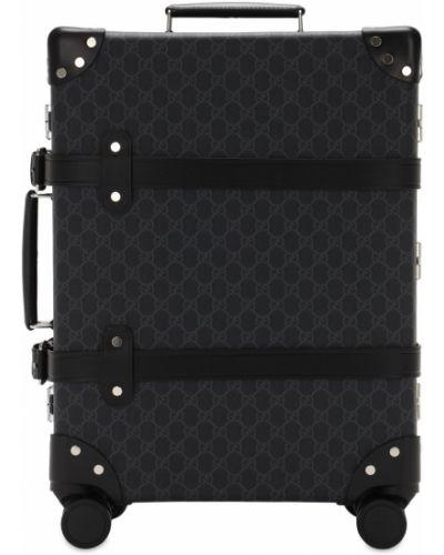 Czarna walizka skórzana z paskiem Gucci