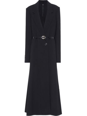 Черное кожаное пальто с поясом Petar Petrov